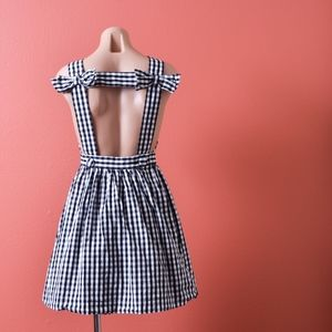 l'ecole des femme Bow Backless Gingham Dress